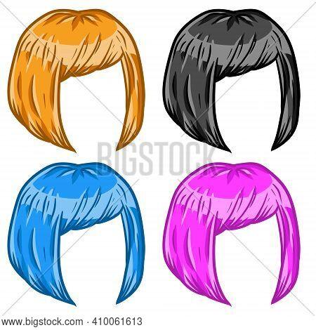 Women Hairstyle. Hair On The Head. Trendy Modern Haircuts Girl - Bob Cut.