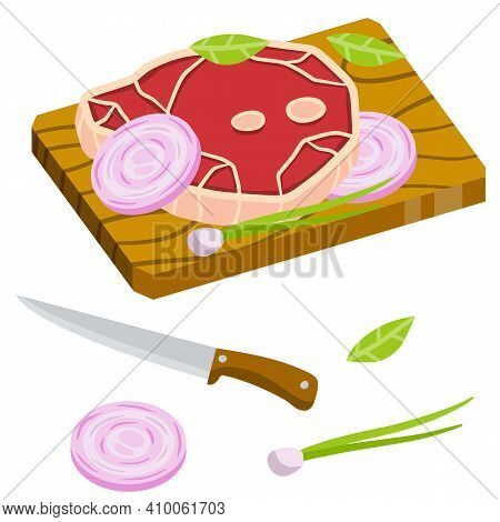 Piece Of Raw Meat On Chopping Board. Chops And Ingredients. Cooking Food. Kitchen And Restaurant Ele