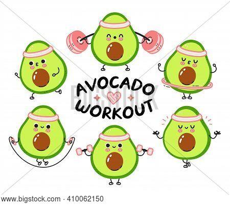 Cute Funny Avocado Make Gym Set Collection. Vector Flat Line Cartoon Kawaii Character Illustration I