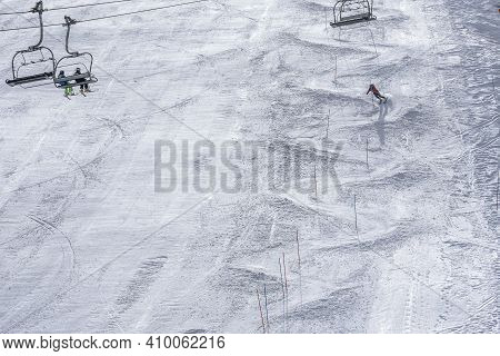 Winter Day On A Ski Resort In Europe. Beautiful Texture Created By Skiers Descending The Mountain. S