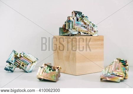 Amazing Colorful Rainbow Bismuth Gemstone On White Background. Copy, Empty Space For Text