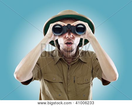 Surprised Explorer Looking Through Binoculars