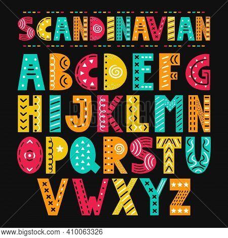Abc Scandinavian Style Alphabet. Vector Simple Flat Cartoon Illustration Icon. Hand Drawn Nursery Po