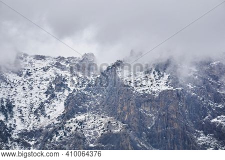 Winter Alpine Landscape - Snow-capped Rocky Cliffs With Rare Pine Trees Hide In Cloudy Fog