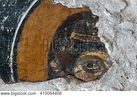 Sevastopol, Crimea - January 31, 2021: Fragment Of A Damaged Ancient Greek Fresco Of The 9th-10th Ce