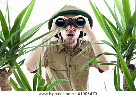 Explorer Looking Through Binoculars