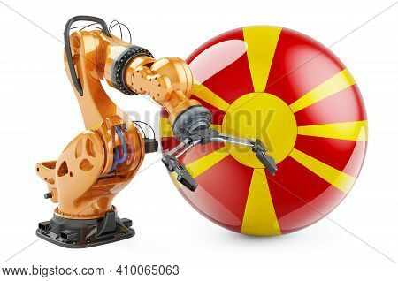 Robotic Arm With Macedonian Flag. Modern Technology, Industry And Production In Macedonia Concept, 3