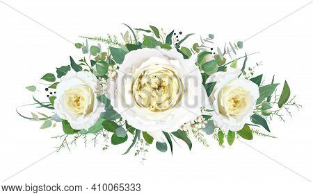 Tender, Floral, Wedding Bouquet Design With Delicate Cream Yellow Cabbage Garden Roses, Ivory White