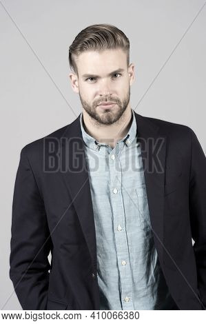 Man Entrepreneur Bearded With Perfect Hairstyle Grey Background. Simple Hacks Make Hairstyle Better.