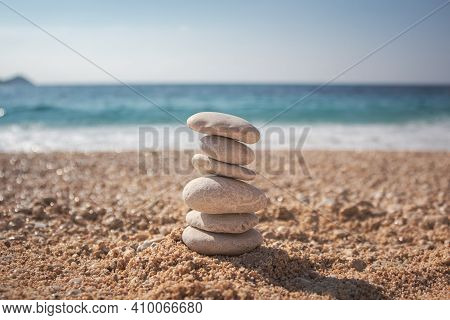 Stones On The Beach Against The Sea. Beach Background. Blue Bakcground. Stones Background. Beach Mad