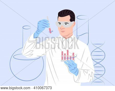 Vector Scientist In Shadow Of Sharp Lines Style