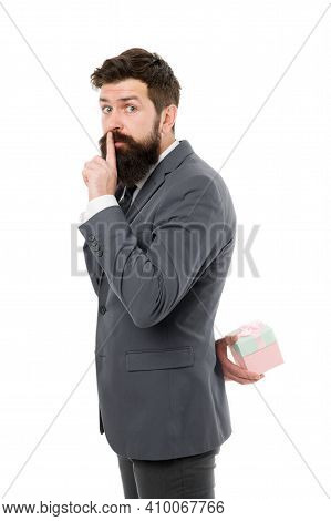 Secret Party. Pleasant Surprise. Gift For Client. Man Bearded Hipster Formal Clothes Hold Gift Box W