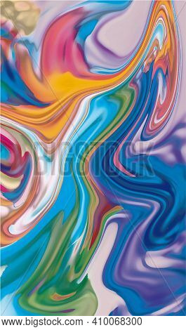 Abstract Blurred Background In Bright Rainbow Colors. Colorful Banner. Liquid Paints, Fluid.