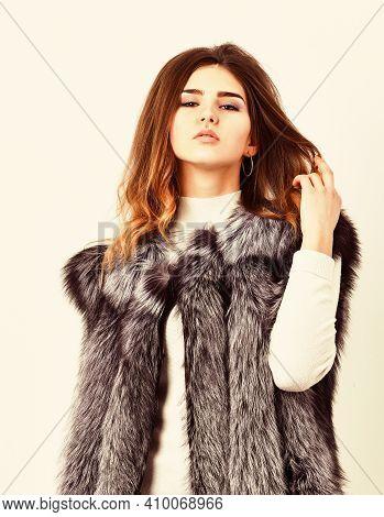 Silver Fur Vest Fashion Clothing. Luxury Fur Accessory Clothes. Fashion Trend Concept. Winter Fashio