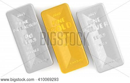 The Highest Standard Of Palladium, Gold And Silver Bars. Three Ingots Of 999.9 Fine Gold, Fine Silve
