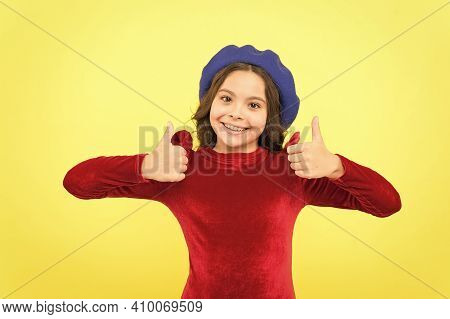 Best Day Ever. Trendy Parisian Child In Red Dress. Smiling Teenager Wear Elegant Dress On Yellow Bac