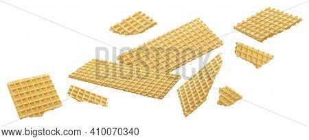Wafer, Crisp Waffle Bread Isolated On White Background