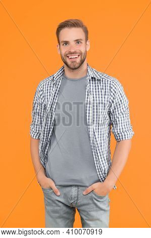 Hello Handsome. Handsome Man Smile Yellow Background. Handsome Look Of Unshaven Man. Casual Style. F
