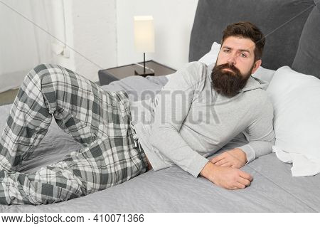 Just One More Minute In Bed. Energy And Tiredness. Bearded Man Hipster Want To Sleep In Morning. Bru