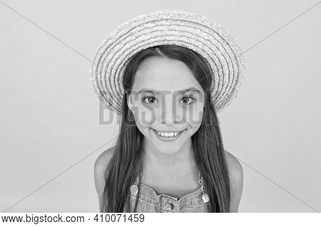 Funny Grimace. Stunning Girl In Hat. Cheerful Face. Emotional Child. Summer Holidays. Fashionably Dr