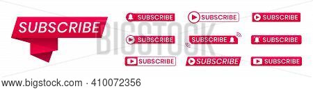 Red Subscribe Button Icons With Ring Symbol. Subscribe To Channel For Blogging, Streaming, Broadcast