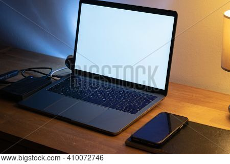 Brown Wooden Desk Table With A Computer