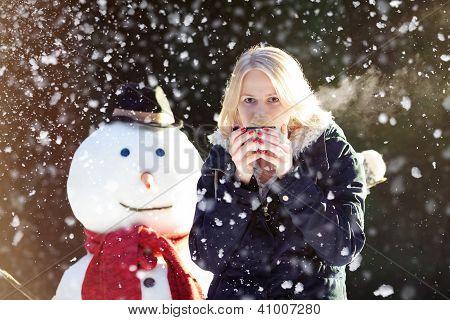 Winter Tea With A Snowman
