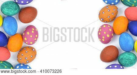 Easter Eggs. Happy Easter Card. Multi-colored Easter Eggs. Easter. Easter Eggs On A White Background