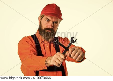 Man Hold Wrench Tools White Background. Wrench Tool Fixing Tightening Details. Wrench Tool. Mechanic