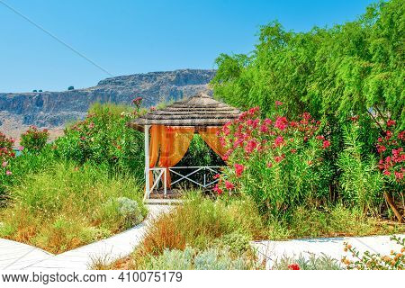 Wooden Arbor In The Garden In The Shadow Of Oleanders And Tropical Trees And Flowers