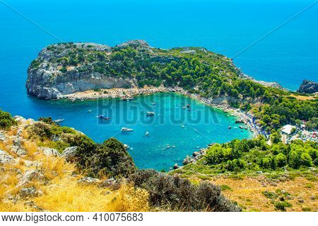 Rhodes Island, Greece - 14 August 2019: Aerial Landscape Of Anthony Quinn Bay And Beach In Rhodes, G