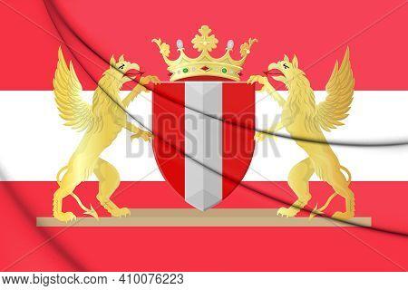 3d Flag Of Dordrecht (south Holland), Netherlands. 3d Illustration.
