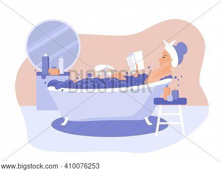 Happy Woman Takes A Bath And Reads Book Vector Flat Illustration. Modern Bathroom Interior Design. R