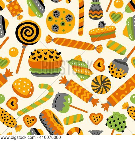 Happy Halloween Sweets Pattern. Seamless Background With Trick Or Treat Candies. Vector Illustration