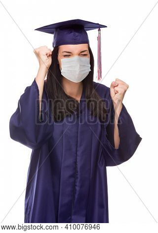 Graduating Female Wearing Medical Face Mask and Cap and Gown  Cheering Isolated on a White Background.