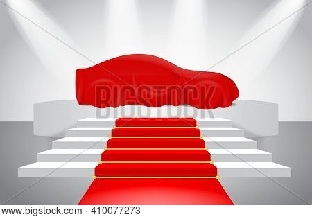 Set Of Red Silk Car Cloth Covered Or Realistic Red Silk Draped On Podium Or Realistic Car Reveal Cur