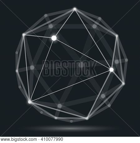 Dimensional Lattice Mesh Vector Abstraction, 3D Polygonal Design Abstract Sphere, Tech And Science D