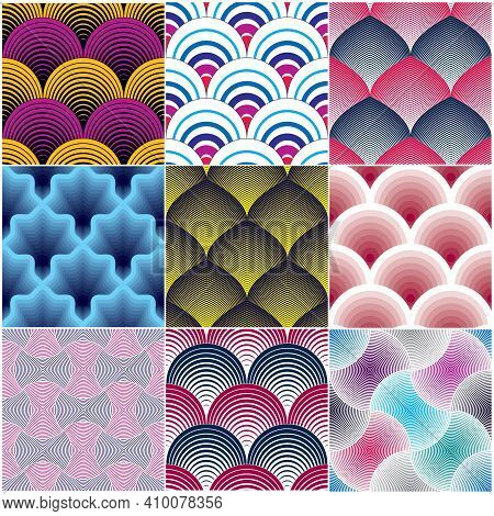 Geometric Seamless Patterns Set, Abstract Tiling Backgrounds Collection, Colorful Vector Repeat Endl