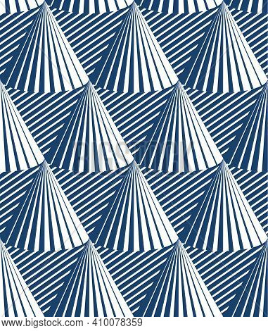 Cones Op Art Seamless Vector Background, Repeat Tiling Optical Illusion Pattern, Textile Or Wrapping