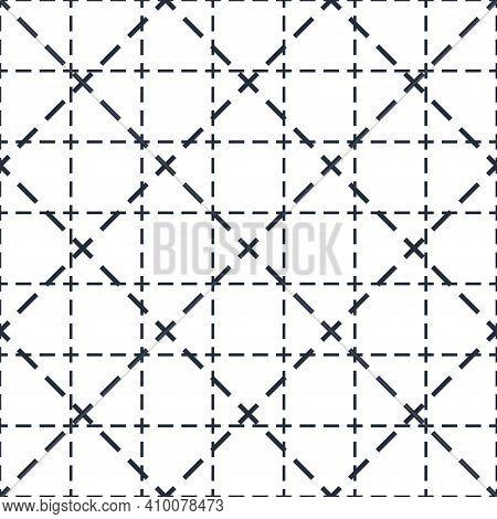Cross Lined Seamless Minimalistic Pattern, Vector Minimal Crossed Lines Background, Stripy Tile Mini