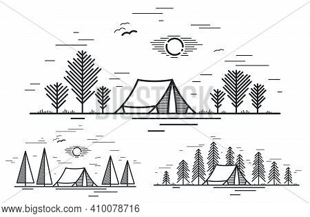 Camping Tent In Pine Forest Vector Linear Illustration Isolated On White, Holidays And Vacations In
