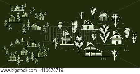 Rural Village In Woods Linear Vector Illustration On Dark, Wooden Houses In Trees Forest Line Art Dr