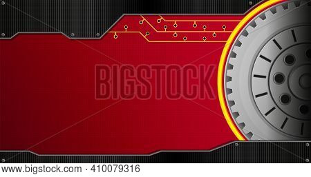 Background With Black Metal Plate And Group Of Concentric Gears On The Right Side On The Red Backgro
