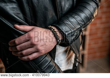 Bracelets Made Of Natural Stones And Minerals, On A Man's Wrist, Close-up