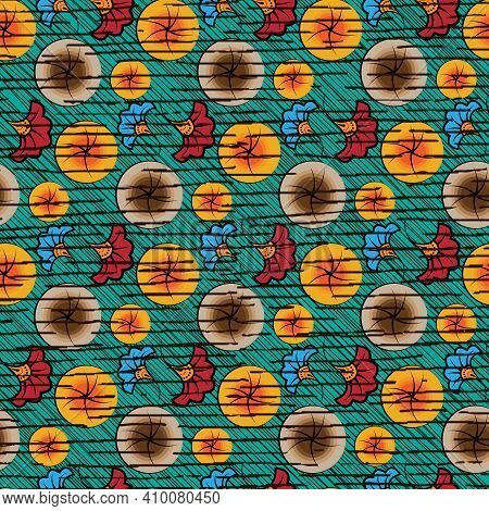 Seamless African Wax Print Fabric, Ethnic Handmade Ornament Design, Tribal Pattern Motifs Floral Ele