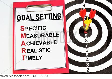 Goal Setting. A Text Label In The Planning Notebook. A Promising Idea, Project, Development Of A Met