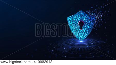 Cyber Attack Concept.the Shield Symbol Was Destroyed. Notification About Threat Of Cyber Attack, Cyb