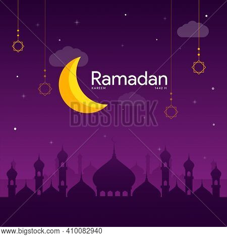 Yellow Crescent Moon And Ramadan Kareem With Clouds And Stars In Purple Dark Gradient Background Tem