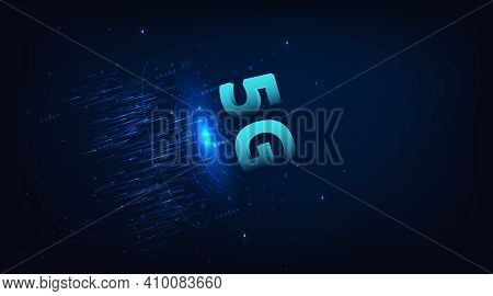 5g Network Wireless Internet Connection Concept.5g Symbol On Dark Blue Digital Background. 3d Illust