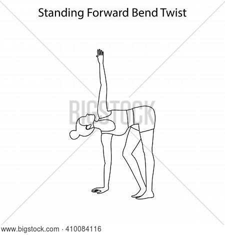 Standing Forward Bend Twist Pose Yoga Workout Outline On The White Background. Vector Illustration